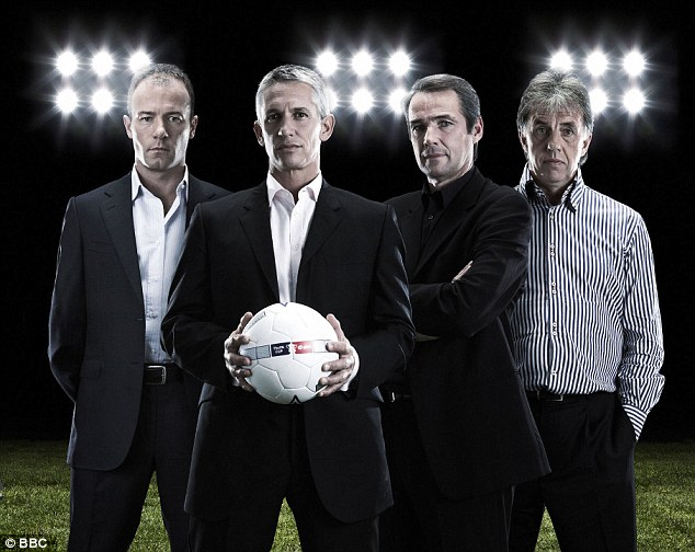 Old boys club: (from left-right) Alan Shearer, Gary Lineker, Alan Hansen, Mark Lawrenson
