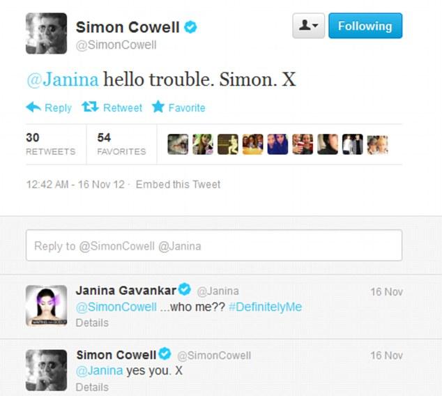 Flirting: Simon Cowell flirted with True Blood beauty Janina Gavankar on Twitter