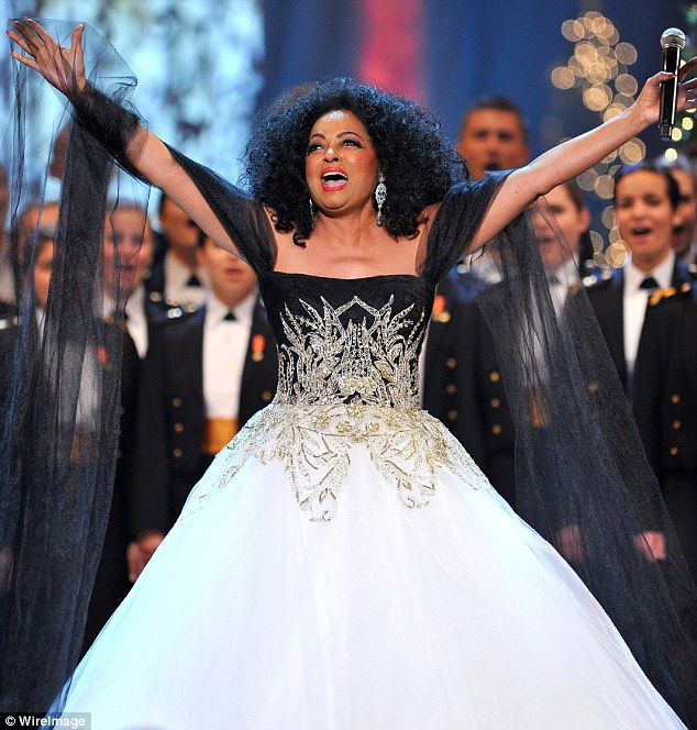 Tree topper:  Diana Ross looked perfectly dressed to top a Christmas tree in her black and white strapless ballgown at President Obama's Annual Christmas Concert in Washington D.C