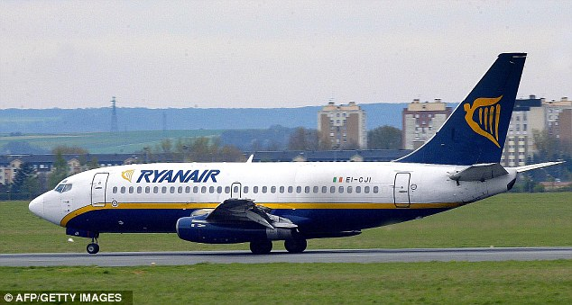 A Ryanair 737 (like the one pictured) carrying 141 passengers from Manchester nearly crashed over Germany after pilots tried a new manoeuvre in a bid to make up 30 minutes of lost time