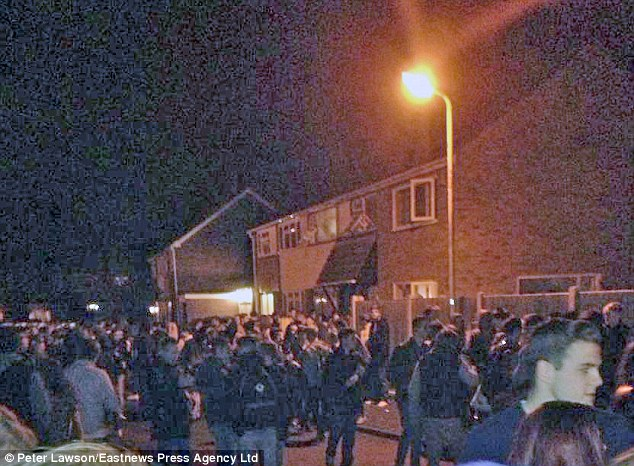 Horde: Crowds of people outside the home. They were made aware of the party through social media sites