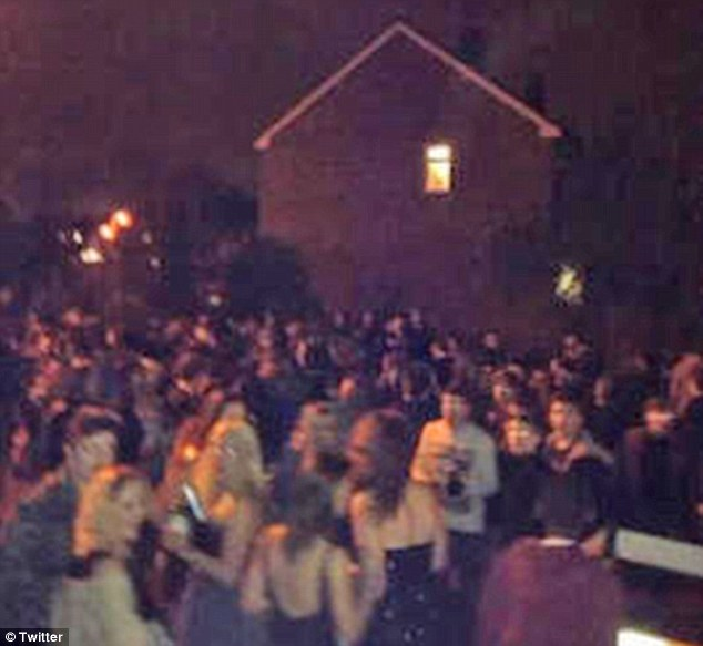Crowds: A picture taken outside the party