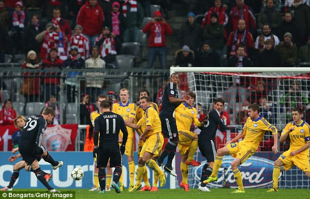 Look closely: The net at the home of Bayern Munich is just visible if you stare hard enough