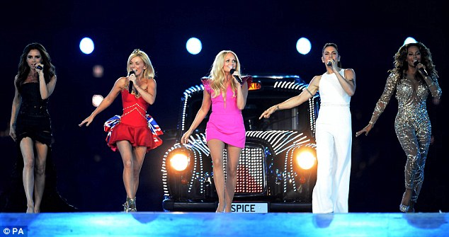 Viva Forever: All of the Spice Girls, including Victoria Beckham, Emma Bunton, Melanie Chisholm and Melanie Brown, pictured at the 2012 Olympic closing ceremony, are expected to attend the musical's opening night