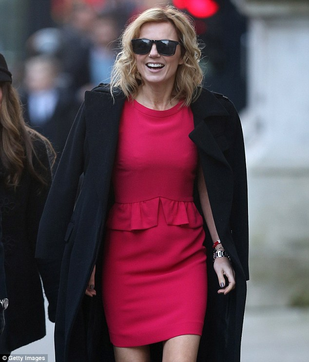 It's a bit nippy out here: No wonder Geri wanted to put her coat on with the cold temperatures