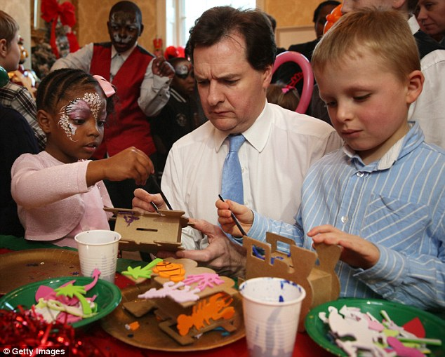 Arts and crafts: George Osborne painting a money box with children at the party