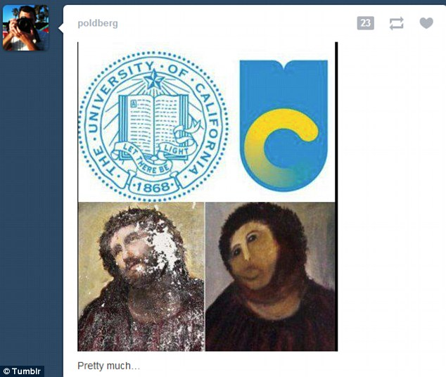 Cruel: Another Tumblr user compared the destruction of the logo to that of this now-famous Jesus fresco