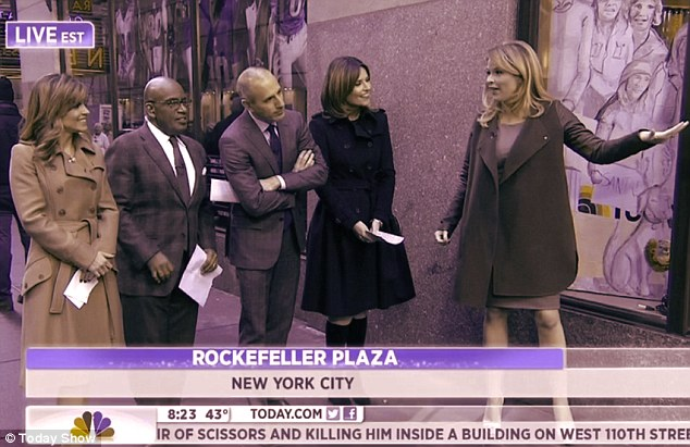 Swing coat: Jenna Bush Hager appeared to cover up her figure with a loose-fitting coat as she joined Today Show stars Natalie Morales, Al Roker, Matt Lauer and Savannah Guthrie on Tuesday morning