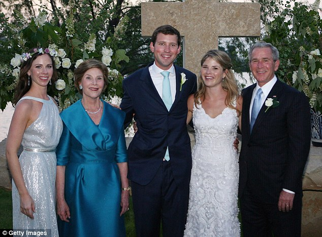 Wedding day: Jenna Hager Bush and husband Henry Hager beam alongside former President George W Bush, Laura Bush and Barbara Bush after tying the knot in May 2008