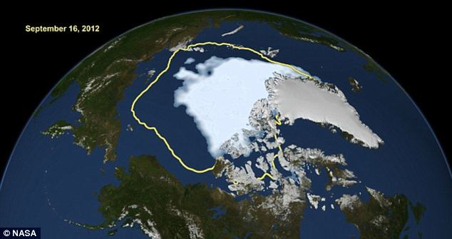 Melting: These images from Nasa show reveal the full extent of Arctic ice shrinkage, showing a new record low compared to the average minimum extent over the past 30 years (in yellow)