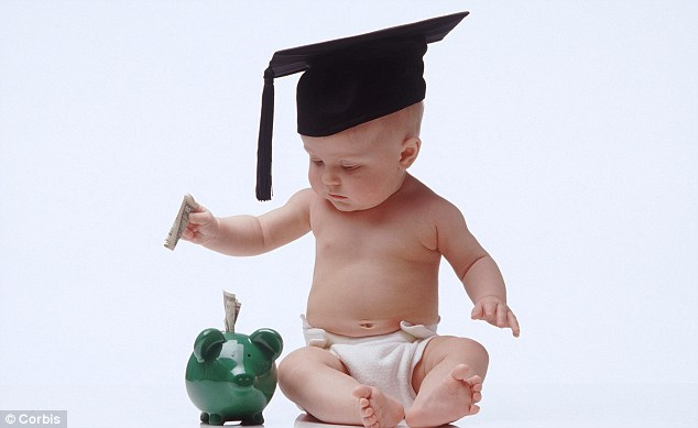 Starting early: Piggy banks will be part of James Coney's strategy to teach his eldest son the value of money (picture posed by model)