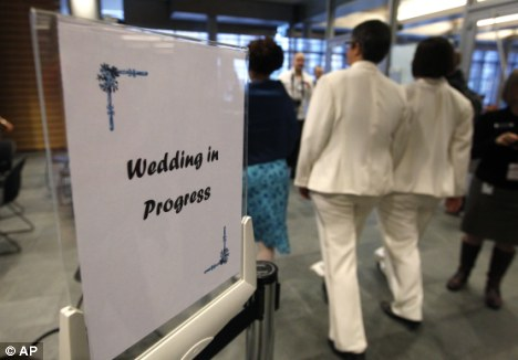 Wedding bells: If civil partners so wish they can have a ceremony to mark their conversion which would function as a vow-renewal