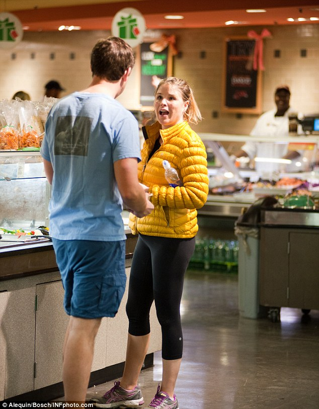Jenna Hager Bush and her husband Henry stock up at the salad bar at a New York Whole Foods on Tuesday night in New York