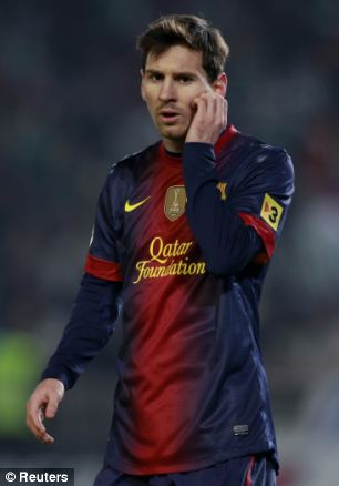 Barcelona's Lionel Messi reacts during the Spanish King's Cup soccer match against Cordoba