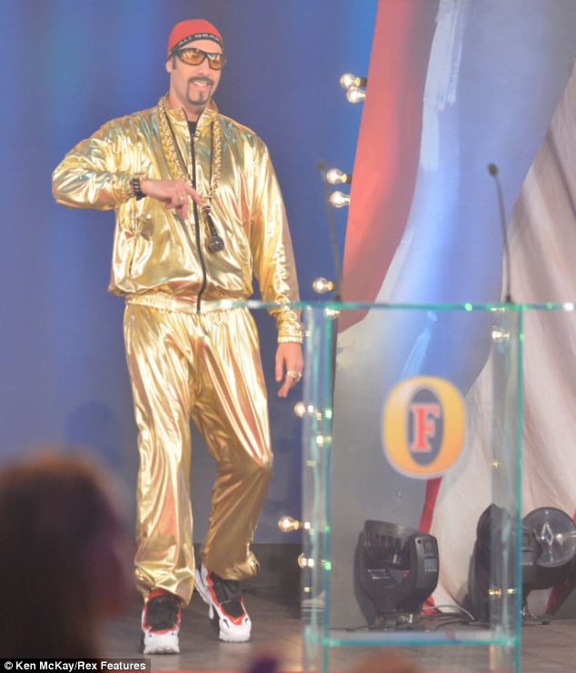 Return: The satirical fictional character returned to the stage at the British Comedy Awards