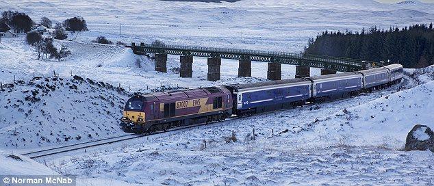 Caledonian Sleeper in snowy landscape