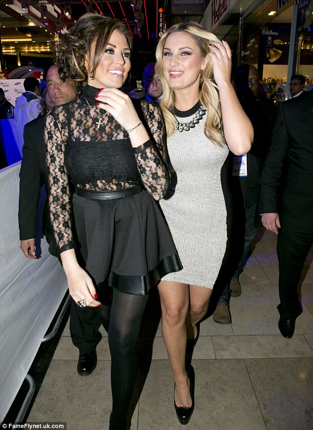 Sticking together: The TOWIE girls couldn't stop chatting as they left the party together