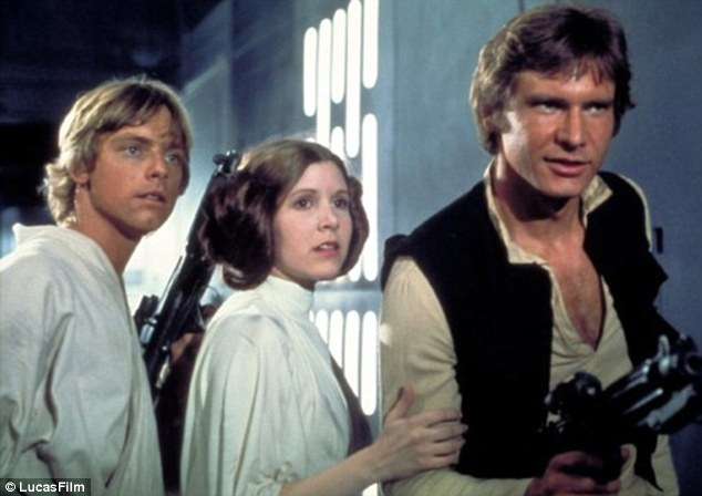 Icons of cinema: Mark Hamil, Carrie Fisher and Harrison Ford lead the rebels in the seminal original trilogy