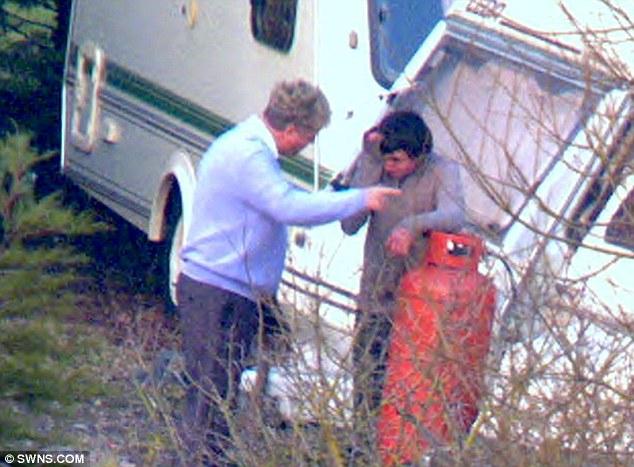 Cruelty: Wealthy traveller William Connors, 51, berates one of his labourers at a caravan park