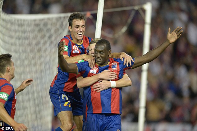 Happy days: Heskey was scoring at a decent rate in Australia but unforeseen circumstances could curtail his time there