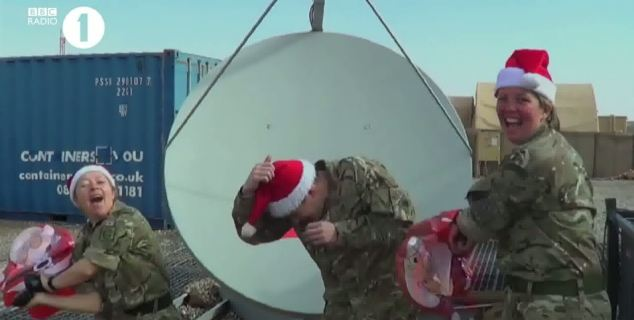 Morale: The troops are clearly not letting anything get them down as they enjoy filming the video