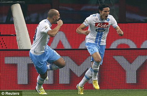 Flying high: Napoli, partly thanks to Edinson Cavani (right) and Paolo Cannavaro, are third in Serie A