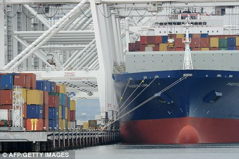 Container ship: Exports fell by one per cent in October while imports rose by 2.5 per cent