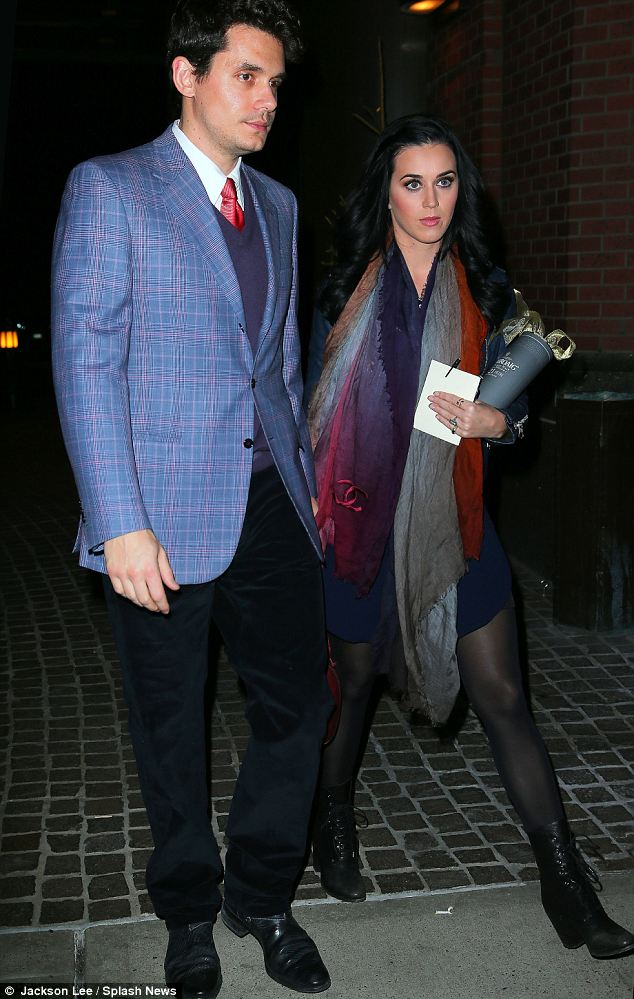 Looking good: Katy Perry and John Mayer headed out for dinner on Saturday evening in New York
