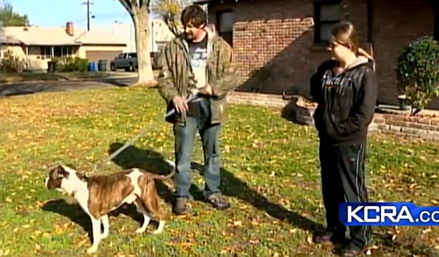 Brick the hero: Jessica Horne and her father are extremely grateful that their pet alerted them to their burning home