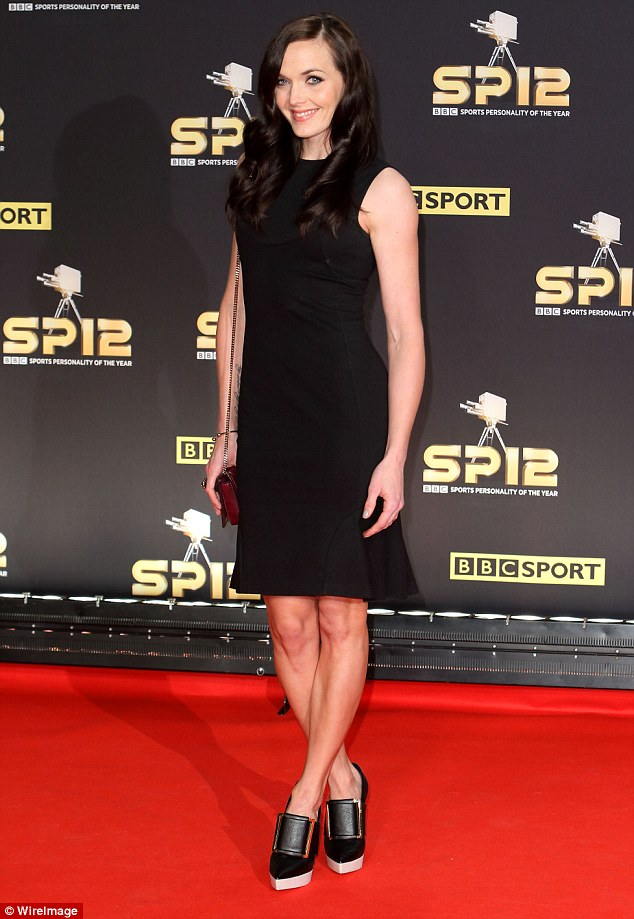 Lady in black: While Jessica stood out in her vibrant frock, cyclist Victoria Pendleton opted for a simple black shift dress for the night