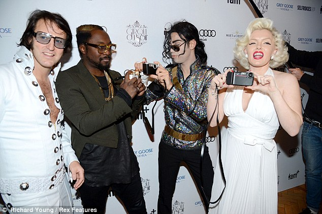 Big name: Will.i.am had fun taking pictures with Marilyn Monroe, Elvis and Michael Jackson