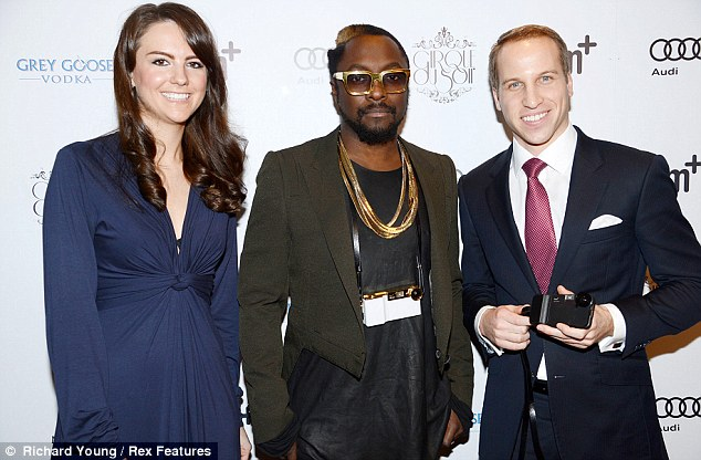 Royals: The rapper, who knows William and Kate, in real life was joined by impersonators at his launch