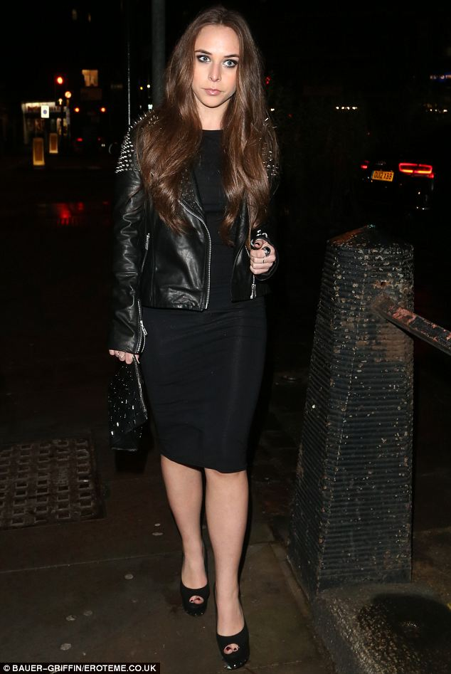 Keeping it classy: Chloe Green, 21, looked stylish in a tight-fitting black dress with platform black heels