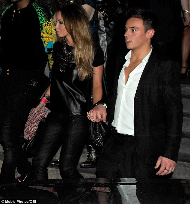 Just friends? Lauren Pope was seen leaving holding hands with diver Tom Daley