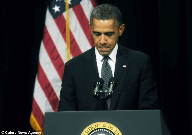 Overcome with emotion: President Barack Obama gave a moving speech at a vigil in Newtown, Connecticut last night for victims of the Sandy Hook shooting