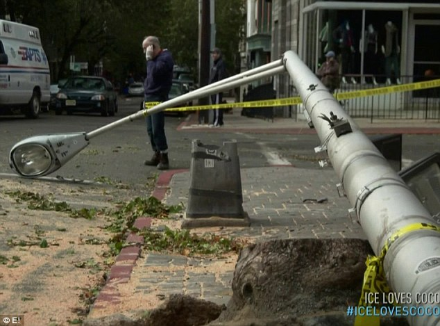 Downed street lights: The couple shared video footage of the damage to their neighbourhood