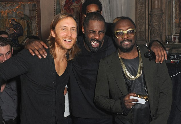 Mulch-talented: Actor Idris Elba took to the decks at the event ahead of will.i.am and David Guetta