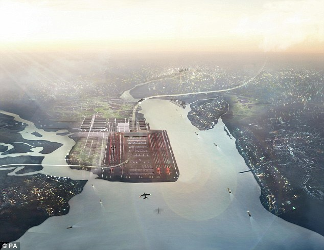 Plans: Lord Foster's £50billion design for Boris Island that would sit in the Thames estuary and handle 150 million passengers a year