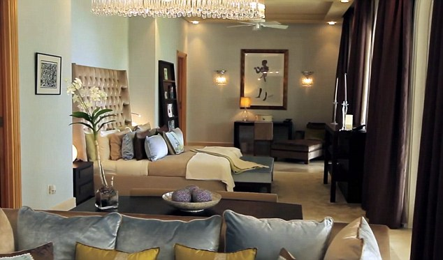 Elegant: One of the five bedrooms inside the apartment at One Sandy Lane