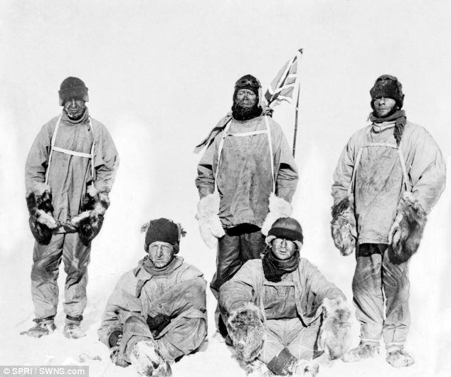 Doomed: (l-r) Captain Laurence Oates, Captain Robert Scott, Petty Officer Edgar Evans; sitting (l-r) Lt Henry Bowers, Dr Edward Wilson