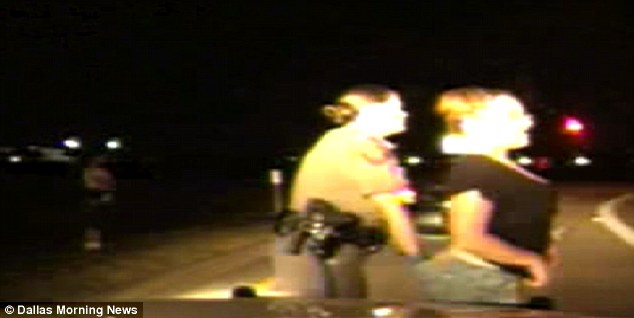 Invasive: Female trooper Kelley Helleson, left, aggressively searched the women
