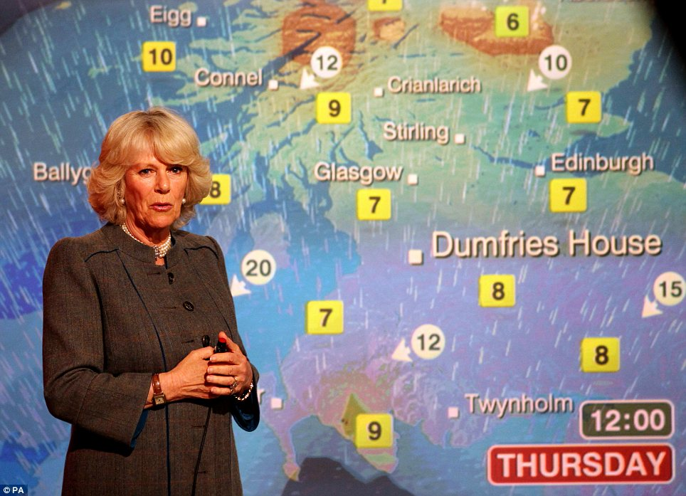 Career change: The Duchess of Cornwall reads the weather in the Six O'Clock studio whilst on a tour of the BBC Scotland Headquarters in Glasgow