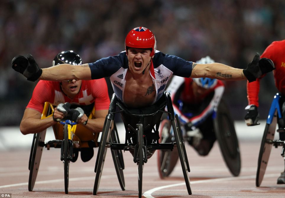 Roar: David Weir, nicknamed the Weirwolf, celebrating after winning yet another gold medal