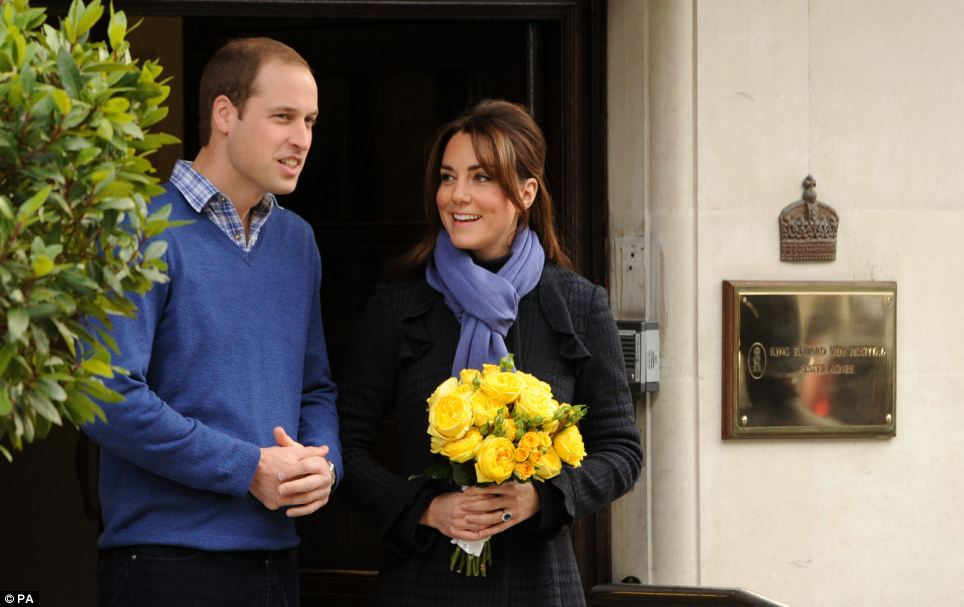 Recovery: The Duke and Duchess of Cambridge leaving the King Edward VII hospital in London where the Duchess of Cambridge was admitted suffering from severe morning sickness