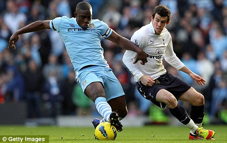 No way past: Micah Richards shields the ball away from Gareth Bale in a Premier League match at the Etihad Stadium earlier this year