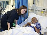 The young royal handed out presents to children on the ward including nine-year-old Mohammed Wellington