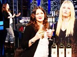 'I've always loved wine!' Drew Barrymore plays a game of 'pinot pong' with Chelsea Handler