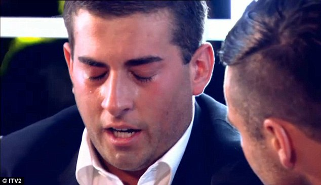 Bless him: James Argent was also in tears as the show ended following his reunion with Mark Wright