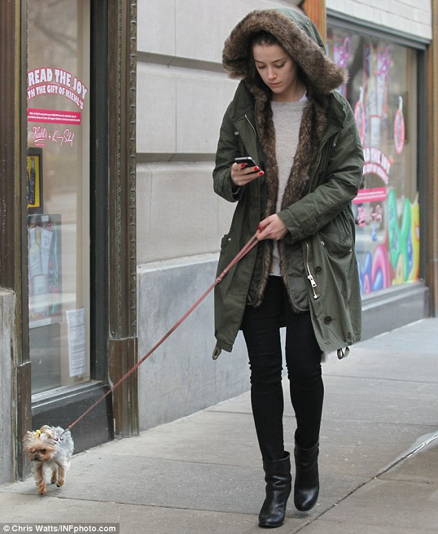 Out and about: Amber brought her pup Pistol out for a walk