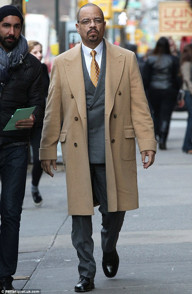 Suited up: Ice-T on the set of Law & Order: SVU in New York City on Monday